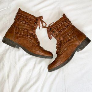 Booties From Brash Boots Braided Details size 7.5 Light Brown